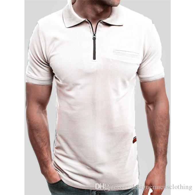 Hot Zipper Revers Kurzarm Herren Polo Sommer Teenager Rundhals Casual Tops Skinny Male Tees