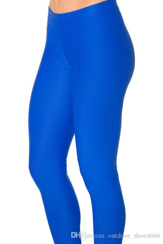 Neon Royal blue navy skyblue dark grey black purple solid color Yoga Leggings Skinny girls fitness compression tights legging #282670