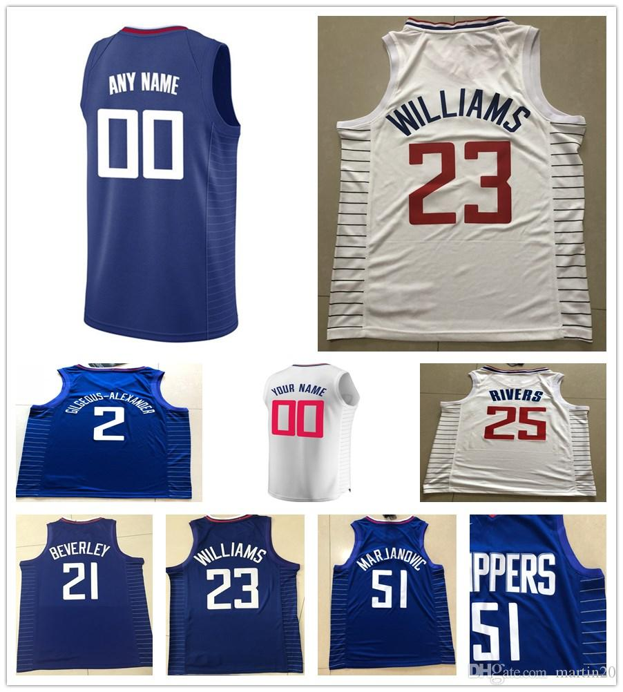 super popular aba96 4bf1c Printed Patrick Beverley Luc Mbah a Moute Mike Scott Shai  Gilgeous-Alexander Jerome Robinson Sindarius Thornwell Tyrone Wallace  Jerseys