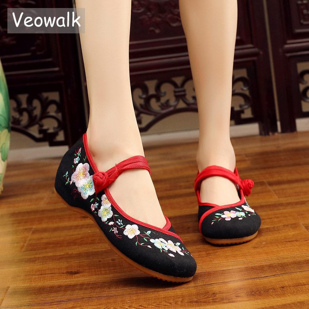 9275b1b4f29d7 Veowalk Chrysanthemum Embroidered Women Canvas Mary Jane Flats Shoes Ladies  Comfortable Cotton Working Ballerinas for Teachers
