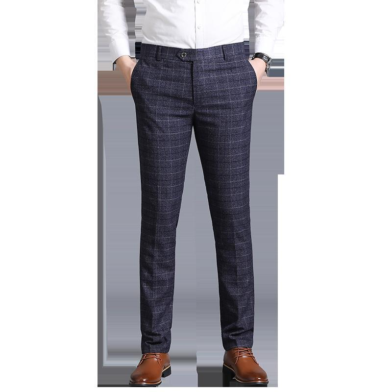 2019 new Business casual men's suit pants striped plaid trousers navy gray pants male size 29-38