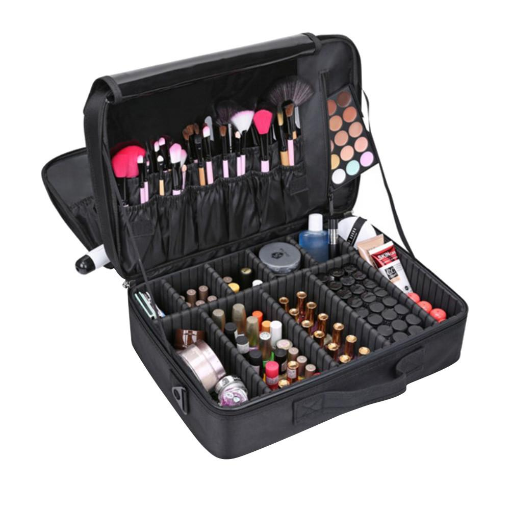 Women Large Capacity Makeup Case 3 Layers Cosmetic Organizer Brush Bag  Makeup Bag Cosmetic Cases For Make Up 2515 Large Makeup Train Case Makeup  Train From ... 091a5f6ee3b8c