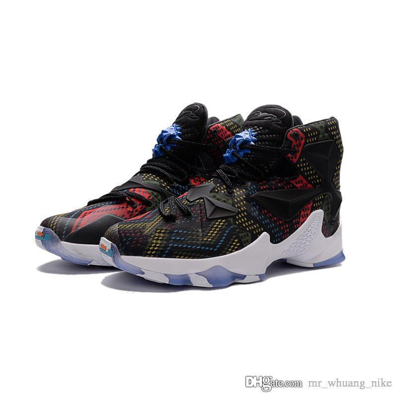 the best attitude 058d1 0c343 Mens what the lebron 13 basketball shoes for sale BHM Black Multi color  Boys Girls youth kids sneakers boots with box