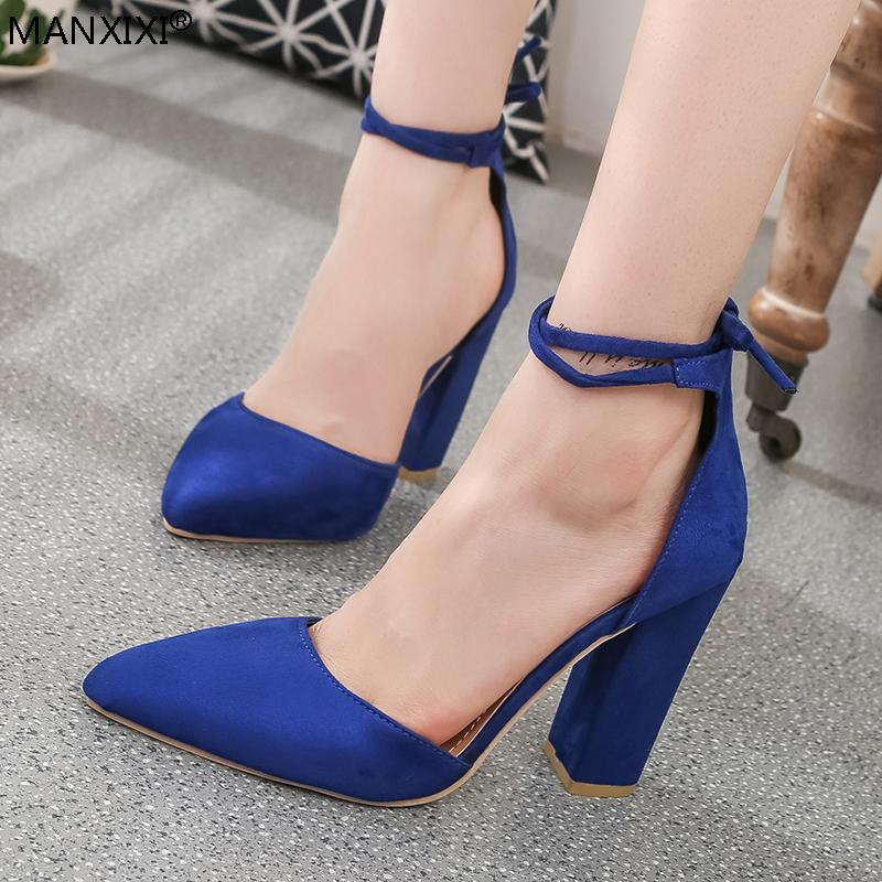 6be8128dd1927 Dress Shoes Women Pointed Toe Pumps Chunky Heels Ankle Strap Lace Up Party High  Heels Blue Red Black Shoe 2019 New Female Sexy Fashion Womens Shoes Shoes  ...