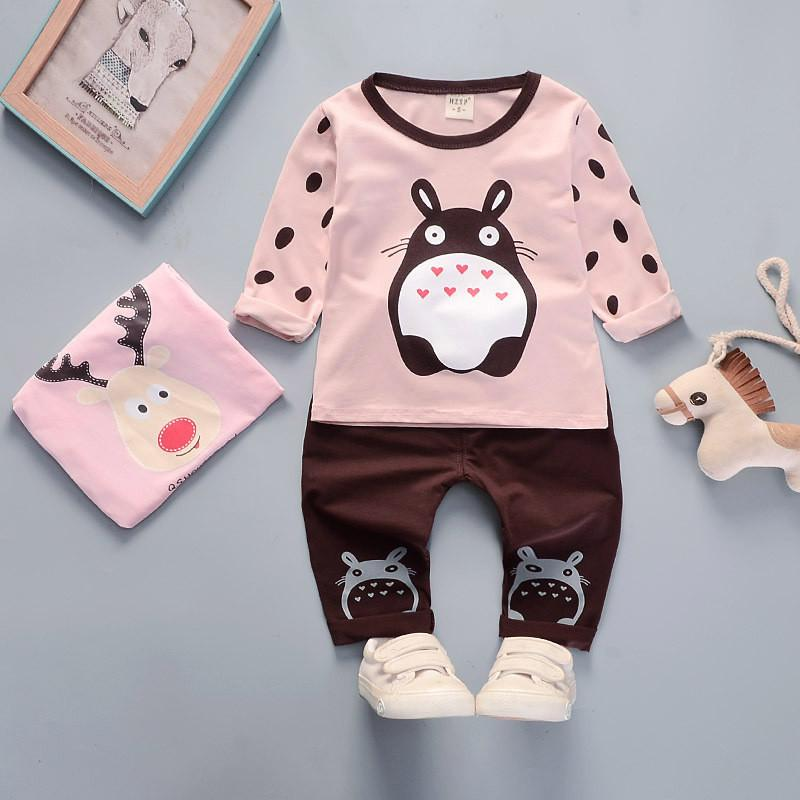 100% cotton 2019 autumn casual cartoon kid suit children set baby girl clothing baby girl clothes girls clothing clothing set