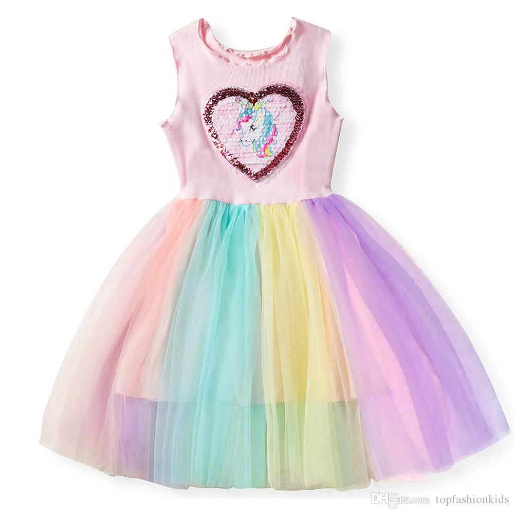 Kids Dresses for Girls Costume Princess Tutu Dress Robe Fille Baby Girl Clothes Summer Children Clothing Girls Rainbow Dress
