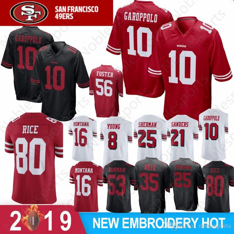 a61a97199 2019 10 Jimmy Garoppolo Jersey 7 Colin Kaepernick San Francisco 56 Reuben  Foster 49er 16 Joe Montana 80 Jerry Rice Sherman Sanders Cheap From  Noblesports