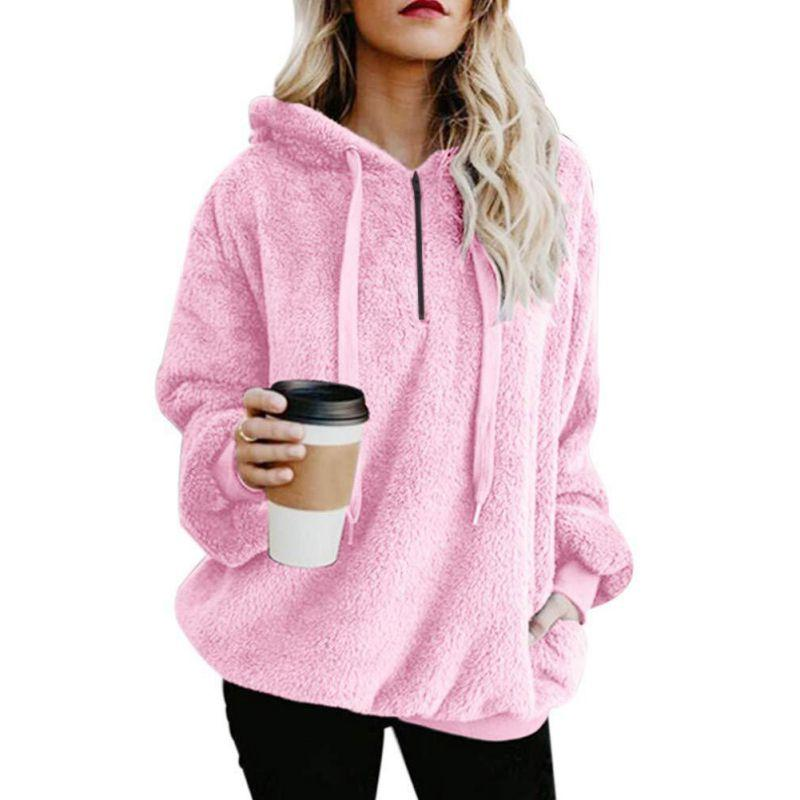1pc Women Plus Size Warm Spring Autumn Coats Hoodie Solid Pink Drawstring Hooded Long Sleeve Coat