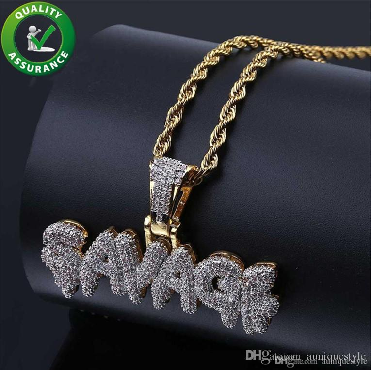 bee3c1a24a5d8 Iced Out Pendant Hip Hop Jewelry Designer Necklace Gold Mens Diamond Chains  Pendant Micro Pave CZ Bling Bubble Letter SAVAGE Fashion Charms