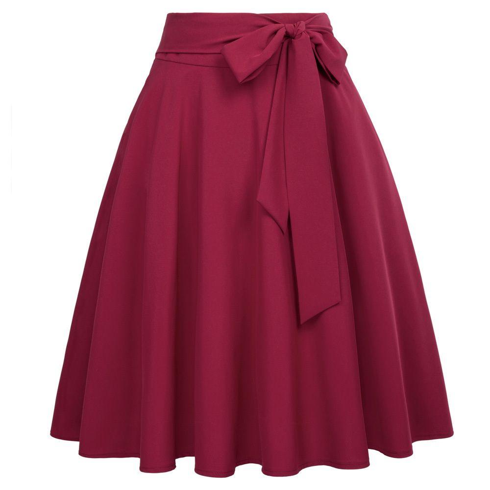 2e047aa43 Faldas de verano Bowknot Mujeres Vino Rojo Negro Saias Color sólido Cintura  alta Self-tie Arco nudo Adornado A-line Falda femenina S19713