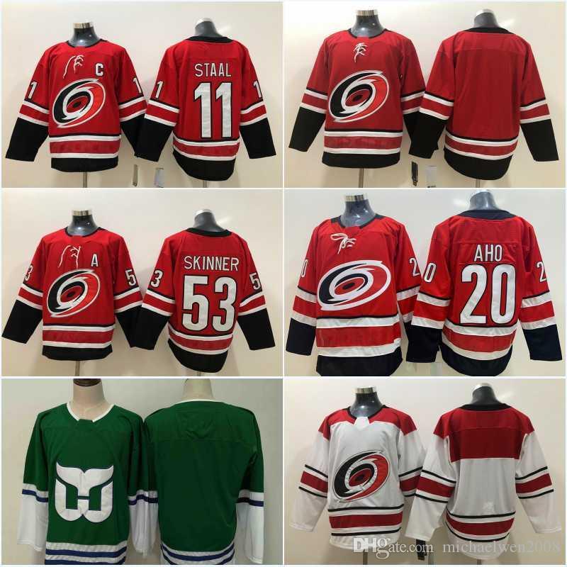 631726d07 2019 Men 20 Sebastian Aho 53 Jeff Skinner Jersey New Season 11 Staal  Carolina Hurricanes Jersey Green Blank Hockey Jerseys Cheap From  Michaelwen2008