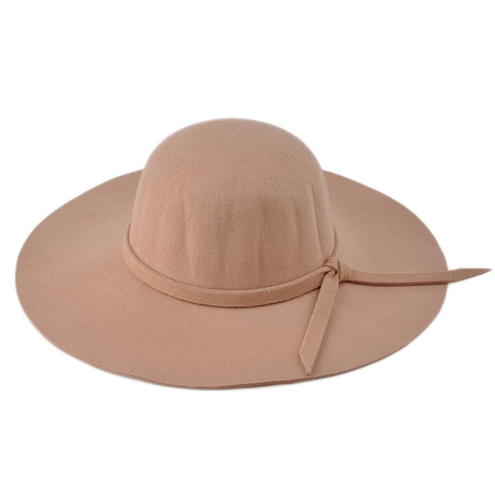 New Fashion Women Lady Wide Brim Wool Felt Bowler Fedora Hat Floppy Sun  Beach Bowknot Cap Hat Scala Hats Wholesale Hats From Byuild fa46390351fd