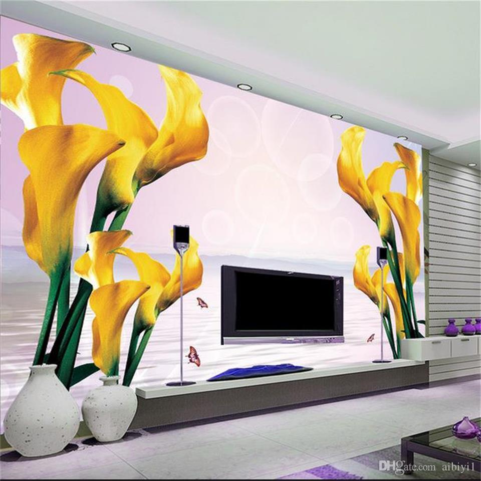 custom size 3d photo wallpaper living room 3d wall mural romantic horseshoe flower 3d picture sofa TV backdrop wallpaper non-woven sticker