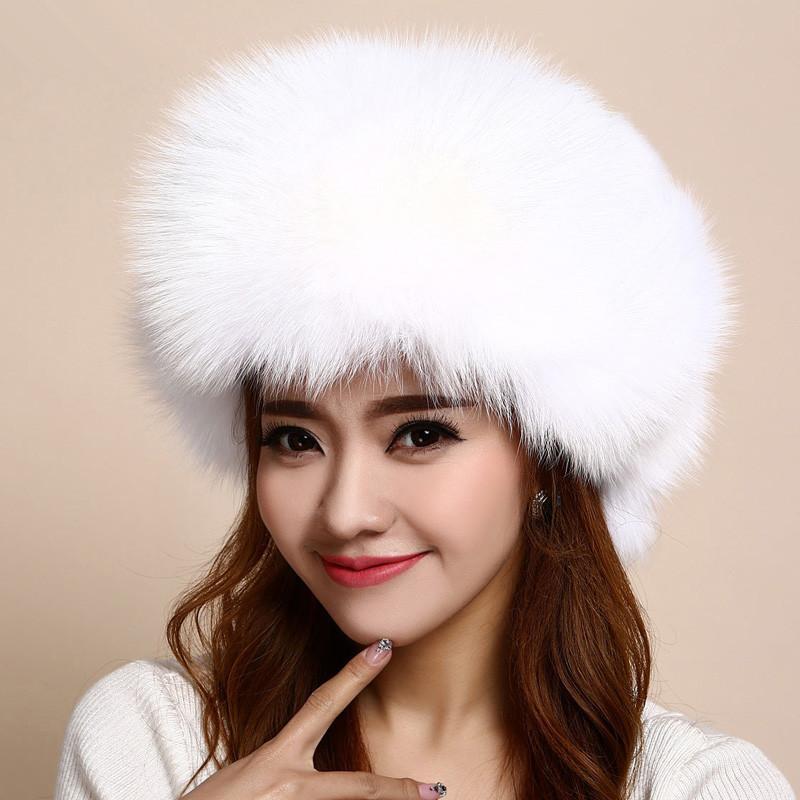7901ebecc1c37f Womens Fur Hat Russian Hat Fur of Real Fox Trapper Winter Warm ...