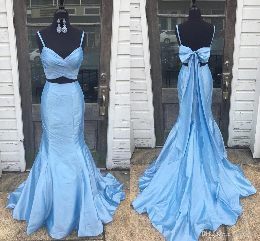 Two Piece Mermaid Prom Dresses Light Sky Blue With Bow Back 2019 Spaghetti Straps Long Cocktail Party Dress Cheap Beach Bridesmaid Dresses