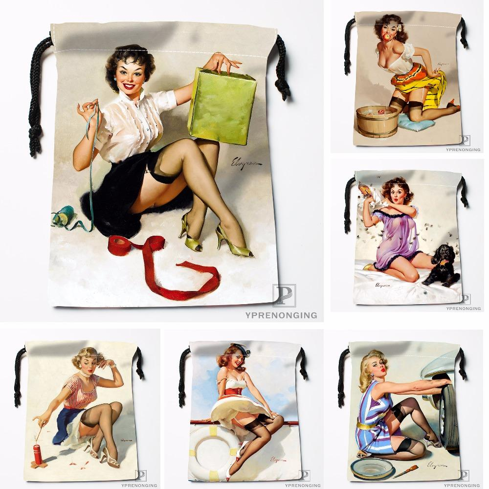 Custom Pin Up Girls Art Paintings Drawstring Bags Travel Storage Mini Pouch Swim Hiking Toy Bag Size 18x22cm#0412-04-221