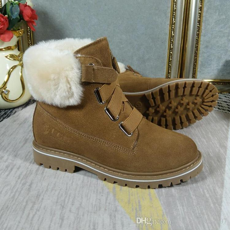57cc68ecc29 VGG Lady Shoes Snow Boots Footwears Square Heel Martin Boots Plush Classic  Casual Heels Botas Mujer High Quality Winter Boot Keep Warm Style