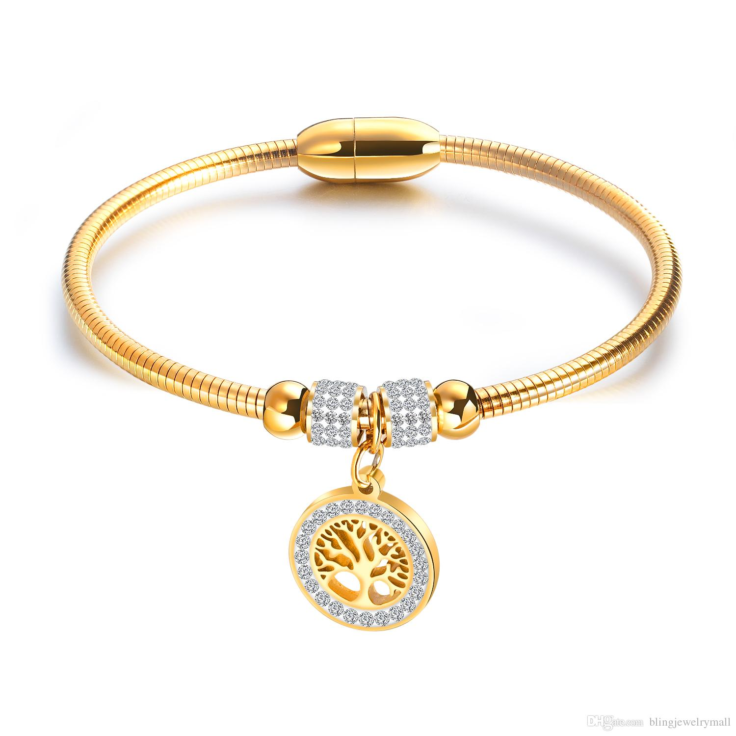 8eb6fca25f772 Fashion Tree Of Life Woman Bracelets & Bangles Silver Colour Gold Charm  Bracelet Stainless Steel Jewelry For Women GH924