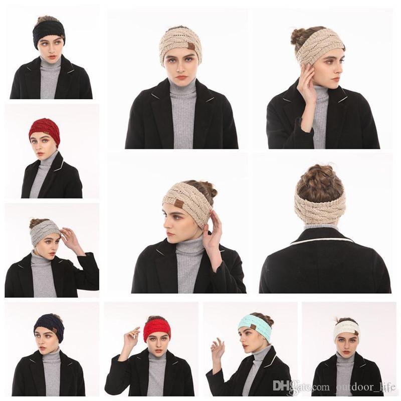 63bdc4f101e6 2019 C Hats Knitted Women Stretch Twist Headbands Girl Head Band Crochet  Winter Warmer Ear Hairband Hair Accessories From Outdoor life