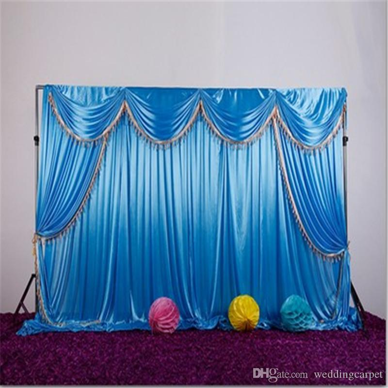 Ice silk fabric wedding backdrop with swags and tassel drape curtain for wedding stage event party birthday decoration