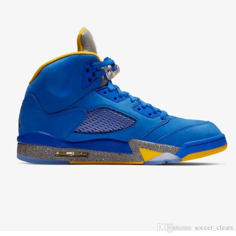 size 40 e6c06 214d1 Scarpe Da Ginnastica Alte Nike Air Jordan 5 Laney JSP Scarpe Da  Pallacanestro 2019 Nuovo Arrivo Retro 5s Jumpman Varsity Blu Reale Donne Di  Marca Mens ...