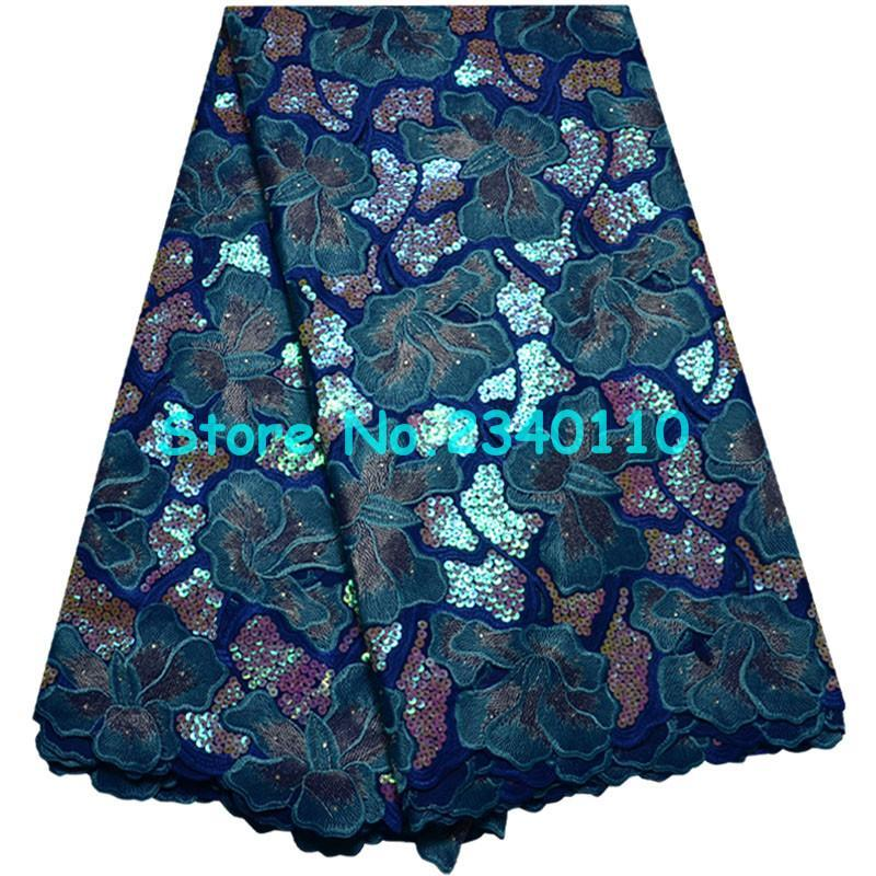 New Fashion High Quality Sequins Swiss voile laces Switzerland Hot Sell Mesh 2018 Blue color Embroidery African lace fabrics