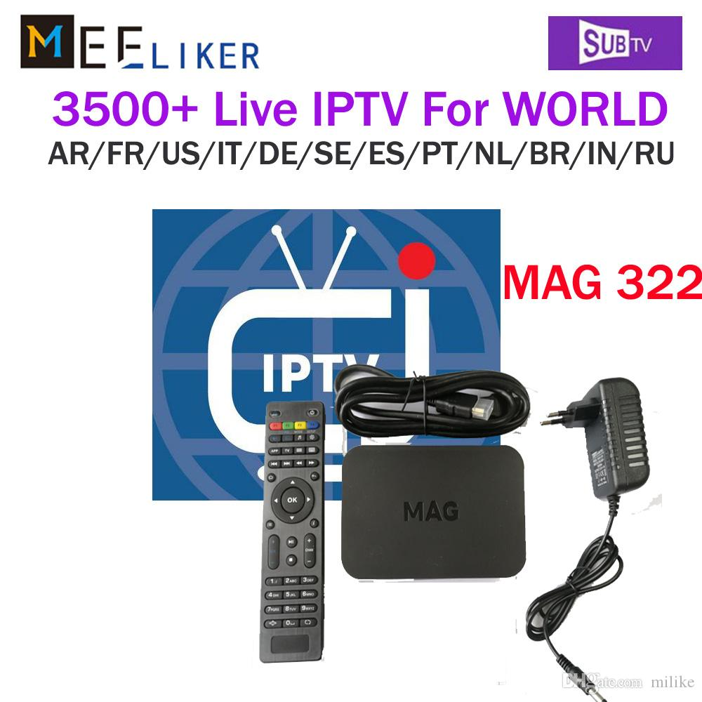 With SUBTV iptv account 2019 New Arrival MAG 322 Latest Linux 3 3 OS IPTV  Set Top Box MAG322 HEVC H 265 IPTV Box Smart europe Media Player