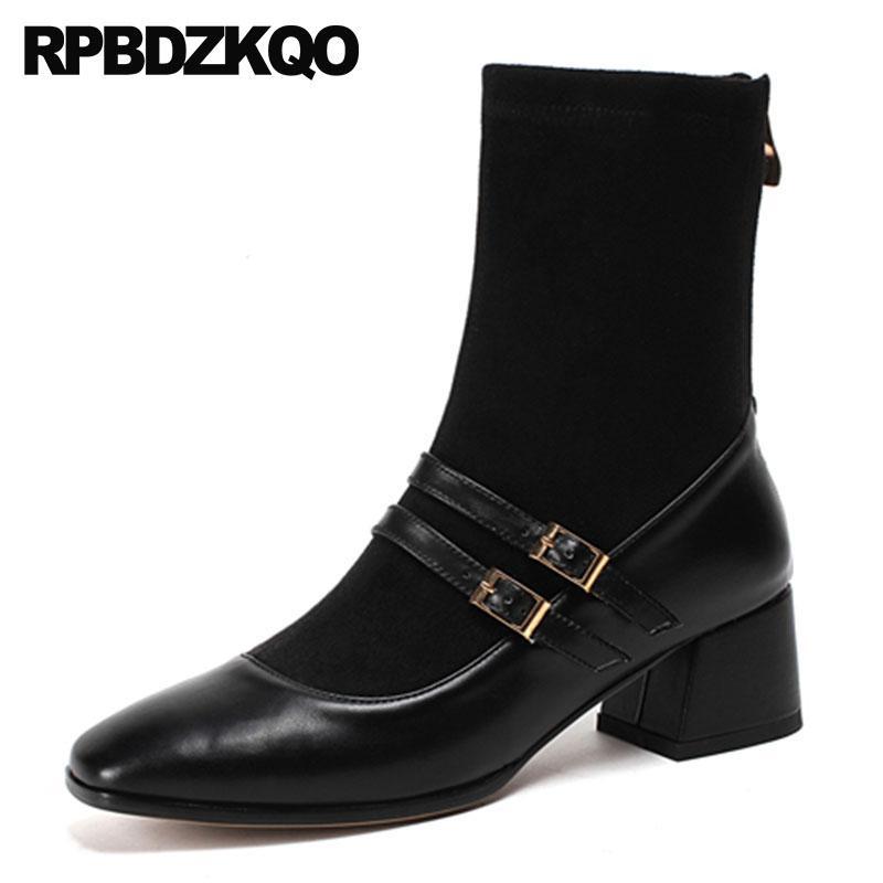 6fba7db5 punta cuadrada mujer botines de tacón medio cuero real grueso grueso otoño  genuino otoño 2018 negro vintage zapatos de lujo de gamuza nuevo