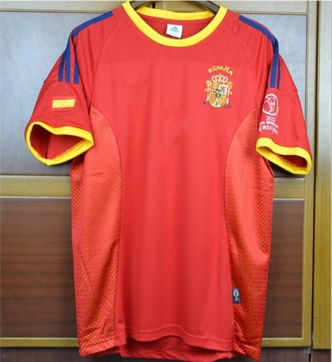 size 40 12823 dc3f6 World Cup 2002 spain retro Soccer Jerseys 02 RAUL Xavi Puyol Torres Hierro  Morientes Football Shirts Camiseta Maillot Camisa futebol
