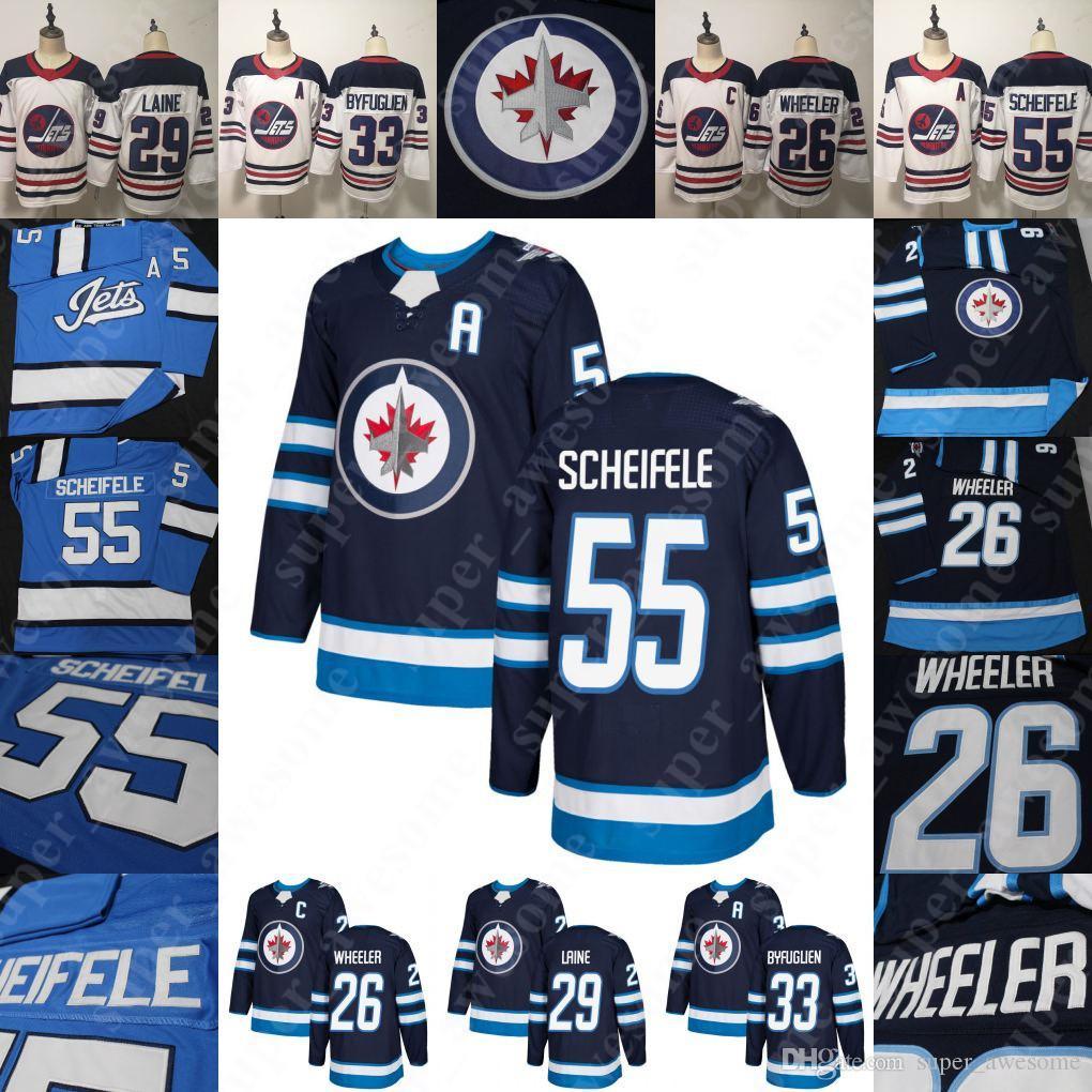 wholesale dealer 76f2e c7e21 55 Mark Scheifele Jersey 26 Blake Wheeler 29 Patrik Laine 33 Dustin 37  Connor Hellebuyck Men Women Hockey Jerseys Blue White BLANK