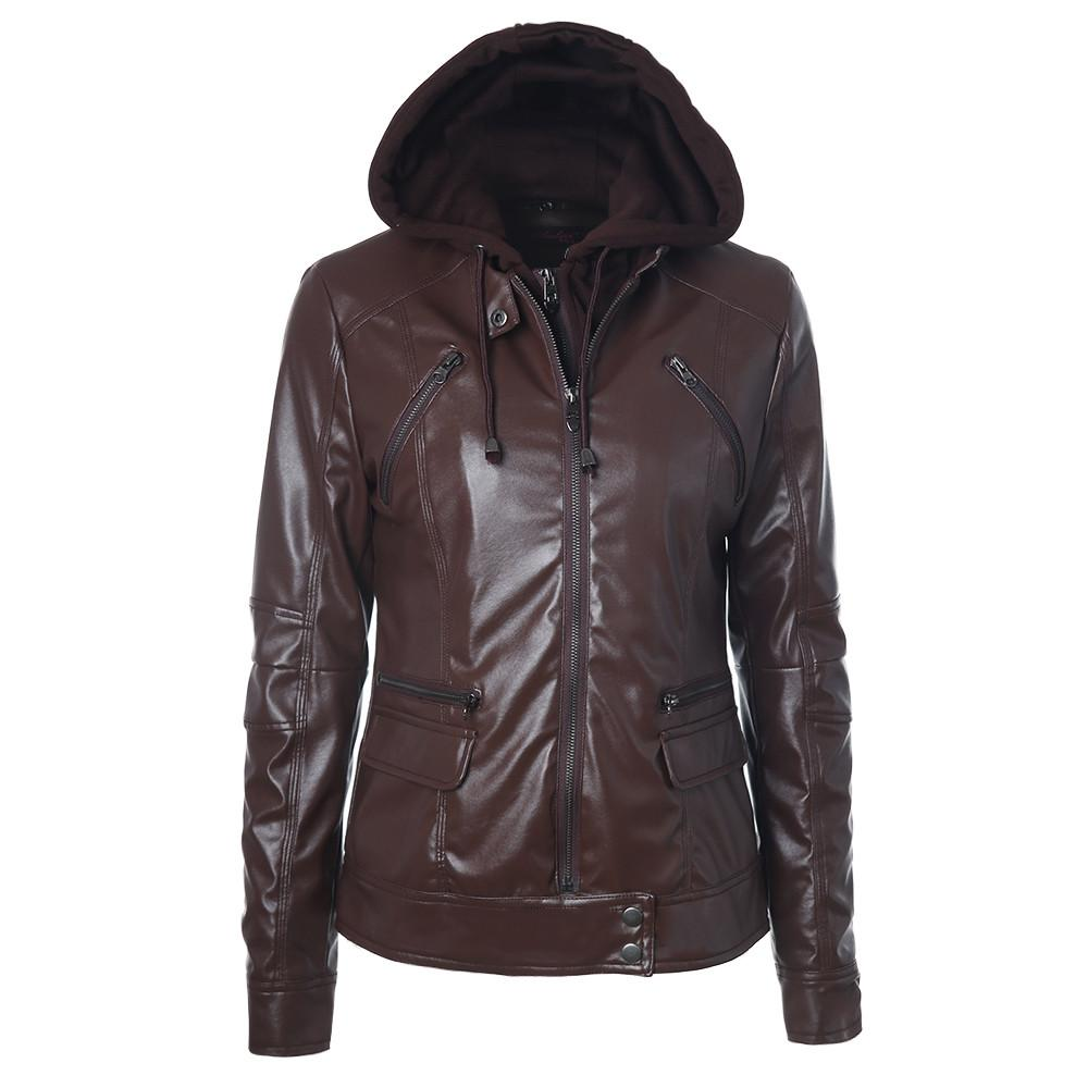 online retailer fdc88 01993 Giacca in pelle Abbigliamento donna 2018 Giacca in finta pelle invernale  con cappuccio Felpa con cappuccio con cappuccio Parkas Slim Motorcycle  Befree