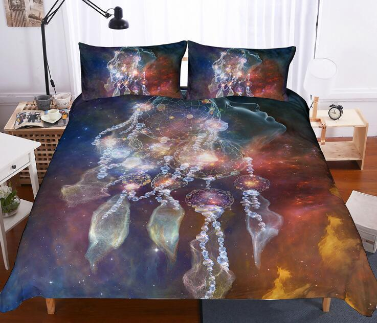 3D Dream Catcher Bedding Set Comforter Bedding Sets 3pcs Bohemian Feather Print Duvet Cover With Pillowcase Bed Cover Set