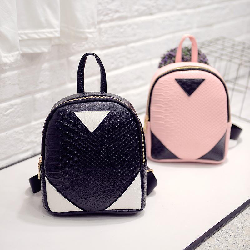 British Fashion New Backpack High Quality Pu Leather Women Bag Crocodile  Pattern Hit Color College Wind Shoulder Bag Female Bag Jansport Backpacks  School ... 85b8eb34c7181