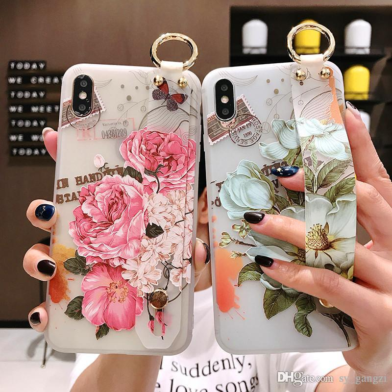 Flower wrist with cell phone case for iphone6 iphone xs MAX