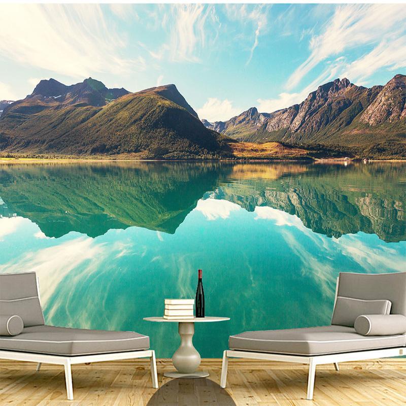 Acquista Sfondi Murali Personalizzati 3d Paesaggio Hd Montagne Lago