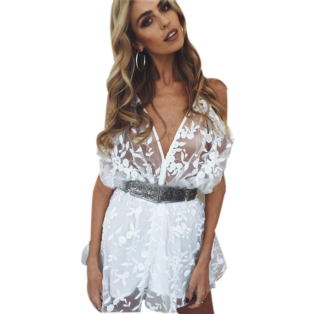 Women ladies summer autumn V-Neck sexy playsuits fashion long sleeve sheer lace patchwork hollow bandage skinny Jumpsuits #H