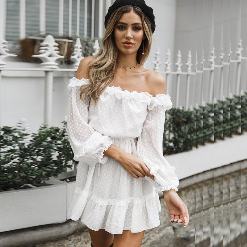 Casual Dress for Woman Summer Dresses Simple Girls Vintage Long Sleeve Beach Wedding Dress Off Shoulder Ruffles Clothing A-line Women Dress