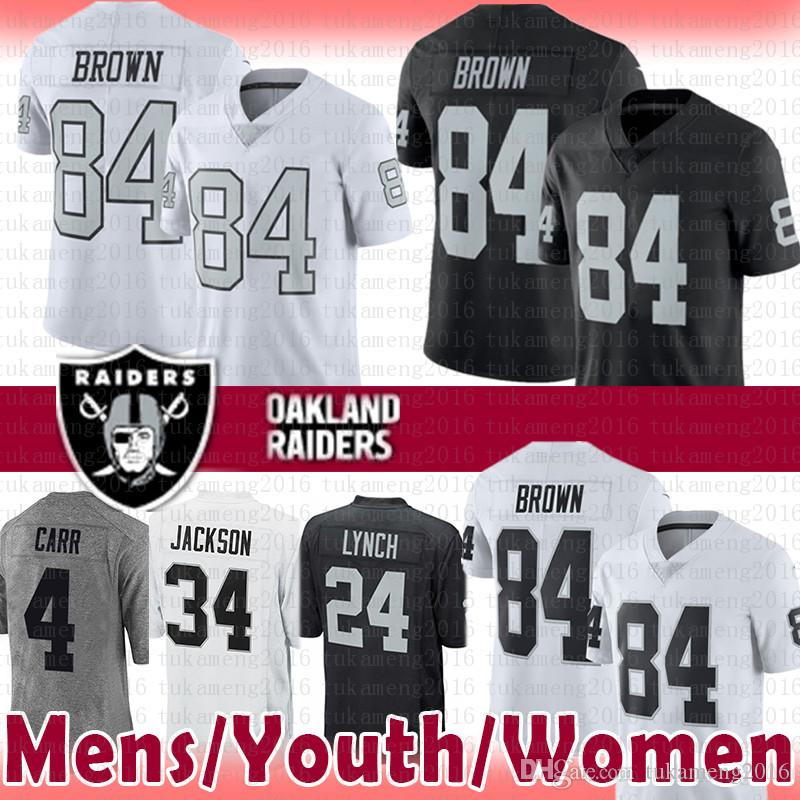 pretty nice 14cb3 85632 84 Antonio Brown Raiders Jersey Mens Youth Women 2019 New 4 Derek Carr 24  Marshawn Lynch 34 Bo Jackson Oakland # Raiders Football Jerseys