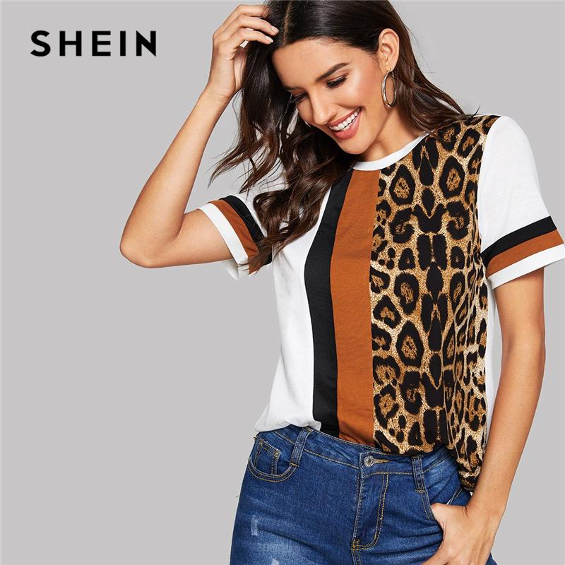 e5b9b8c0111 SHEIN White Color Block Cut And Sew Leopard Panel Top Short Sleeve O Neck  Casual T Shirt Women 2019 Summer Leisure Tshirt Tops Best T Shirts Shirts  Online ...