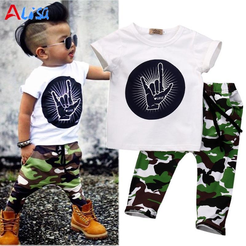 dadf1348538e75 2016 novo verão camuflagem impresso conjuntos de roupas de bebê menino,  confortável algodão T-shirt calças 2 pcs bebê recém-nascido menina ...