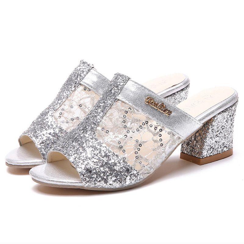 reputable site 3c569 16f65 2019 Sommer Frau Sandalen Gold Open Toe Sandale Spitzenkleid Schuhe Damen  High Heels Alias Square Heeled Pumps Damen Schuhe