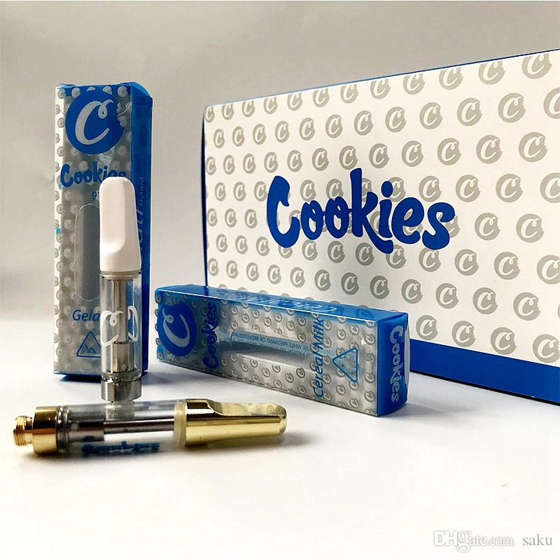 0 8ml Cookies Carts Vape Cartridge Packaging White Gold 1ml Ceramic Glass  Thick Oil Vape Cookies Cartridges E-Cig Vaporizer With 11 Flavors
