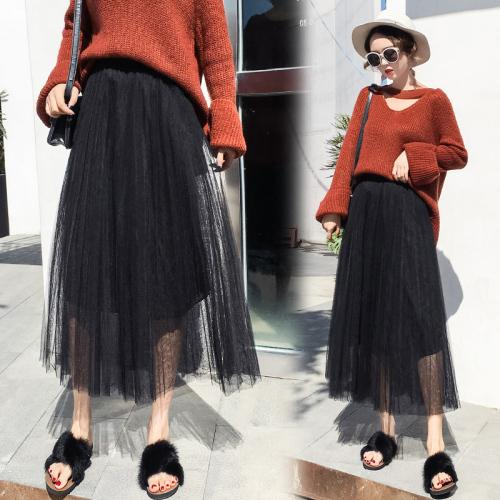 a8b1ec8165 2019 TingYiLi Long Pleated Tulle Skirts Womens Autumn Winter Maxi Skirt  Black White Gray Pink Beige Korean Skirt From Akaya, $53.87 | DHgate.Com
