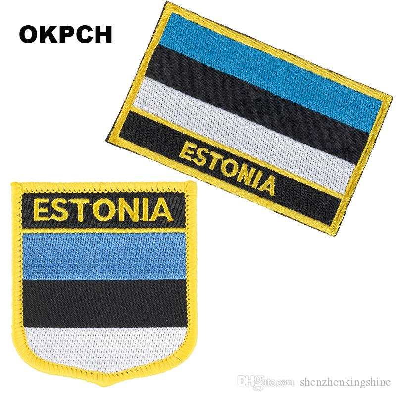 Free Shipping Estonia Flag Embroidery Iron on Patch 2pcs per Set PT0013-2