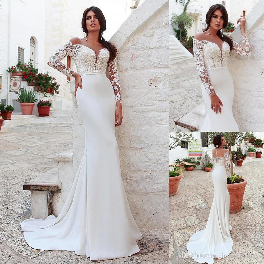2020 Classic Scoop Neckline Mermaid Wedding Dress With Lace Appliques Long Sleeves Bridal Dresses Plus Size Beach Wedding Gowns