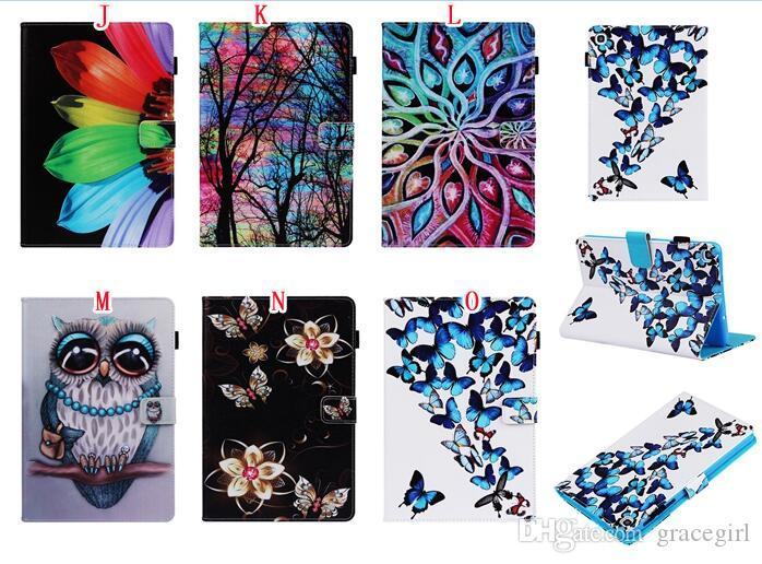 For Samsung Galaxy Tab A 10.1 2019 T510 T515 Tablet P200 S5e T720 T725 Cartoon Wallet Leather Case Owl Flower Dreamcatcher Stand Skin Cover
