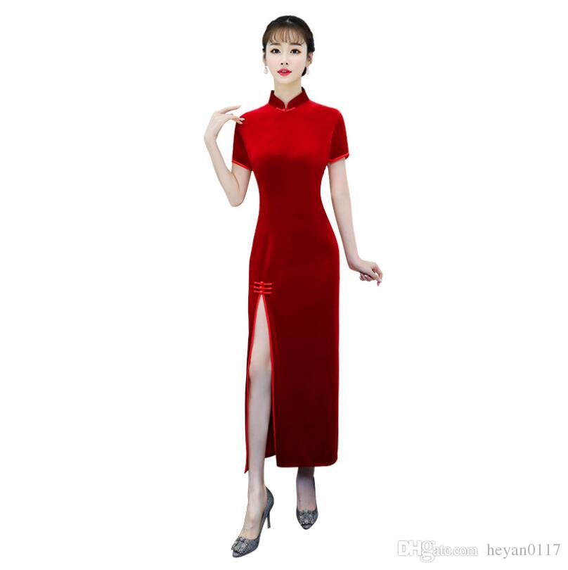 2498aa95183 Velvet Cheongsam Sexy Chinese Traditional Women Clothing Evening Dress Long  Dresses For Wedding Party Cheongsams Velour Teens Party Dresses Juniors  Cocktail ...