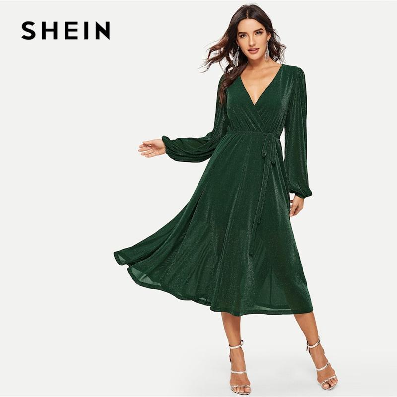 a96bb6a94 Compre SHEIN Verde Surplice Pescoço Cintado Brilho Longline Maxi Vestido De Manga  Longa V Neck Cintura Alta Longo Vestidos Lisos 2019 Mulheres Vestido De ...