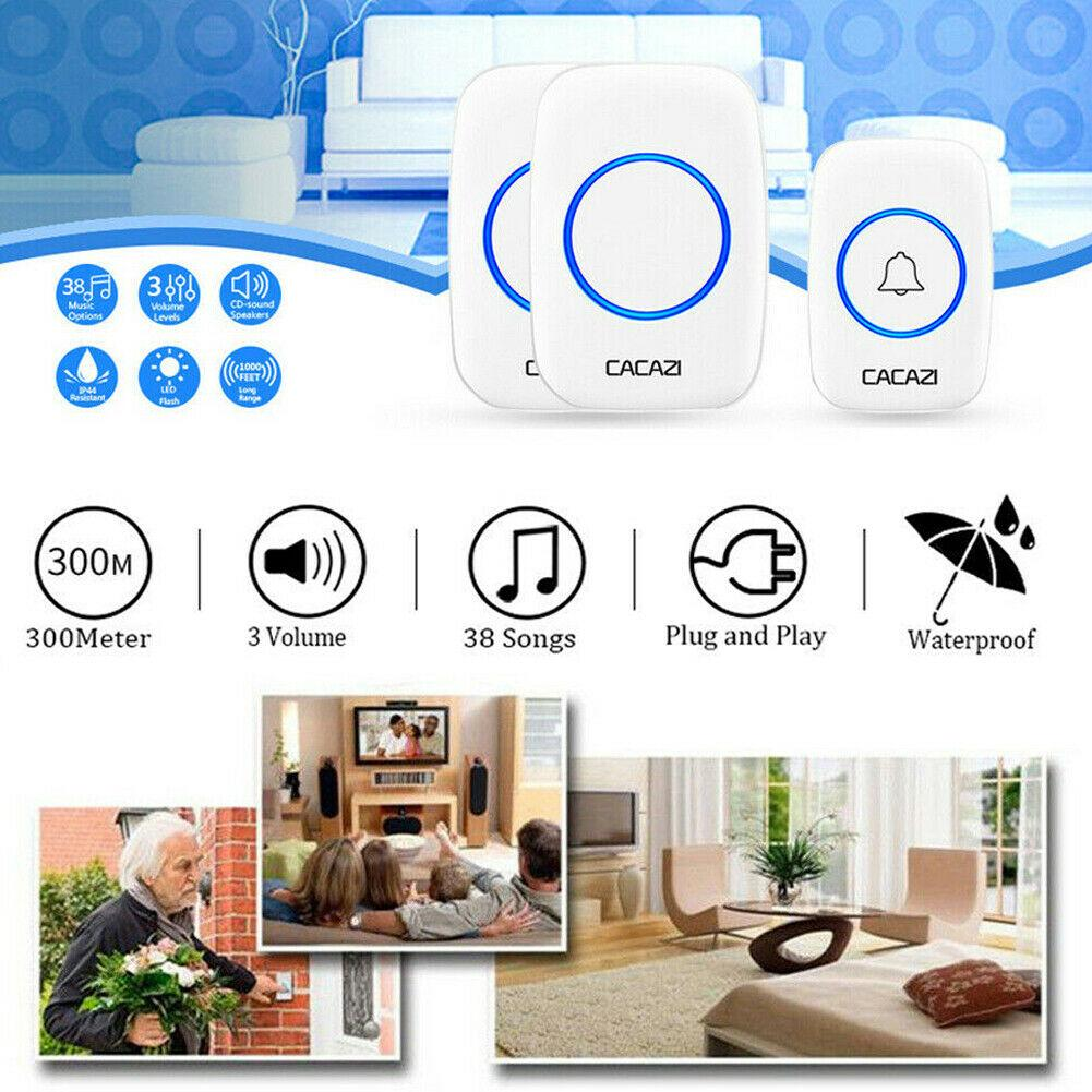 300M Remote Waterproof LED Wireless Doorbell 38 Songs Chime Door Bell EU US UK
