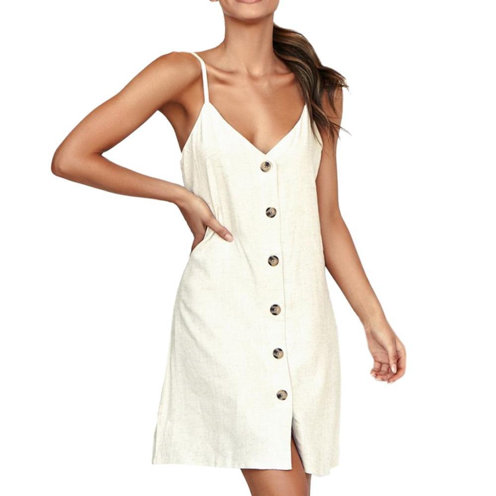 84d6671fa90 Acheter 2019 Explosion Bouton Spaghetti Strap Dress Sexy Femmes Blanc Robe  De Plage De Couleur Unie Poche Casual Style Coréen Mini C De  39.87 Du  Fraoe ...
